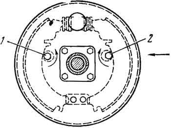 Схема регулировки зазора между колодками тормозов и тормозным барабаном