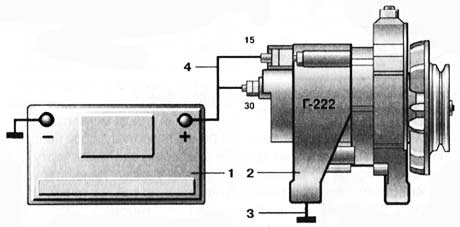 Схема простой проверки генератора Г222 (автомобиль ВАЗ-2107)