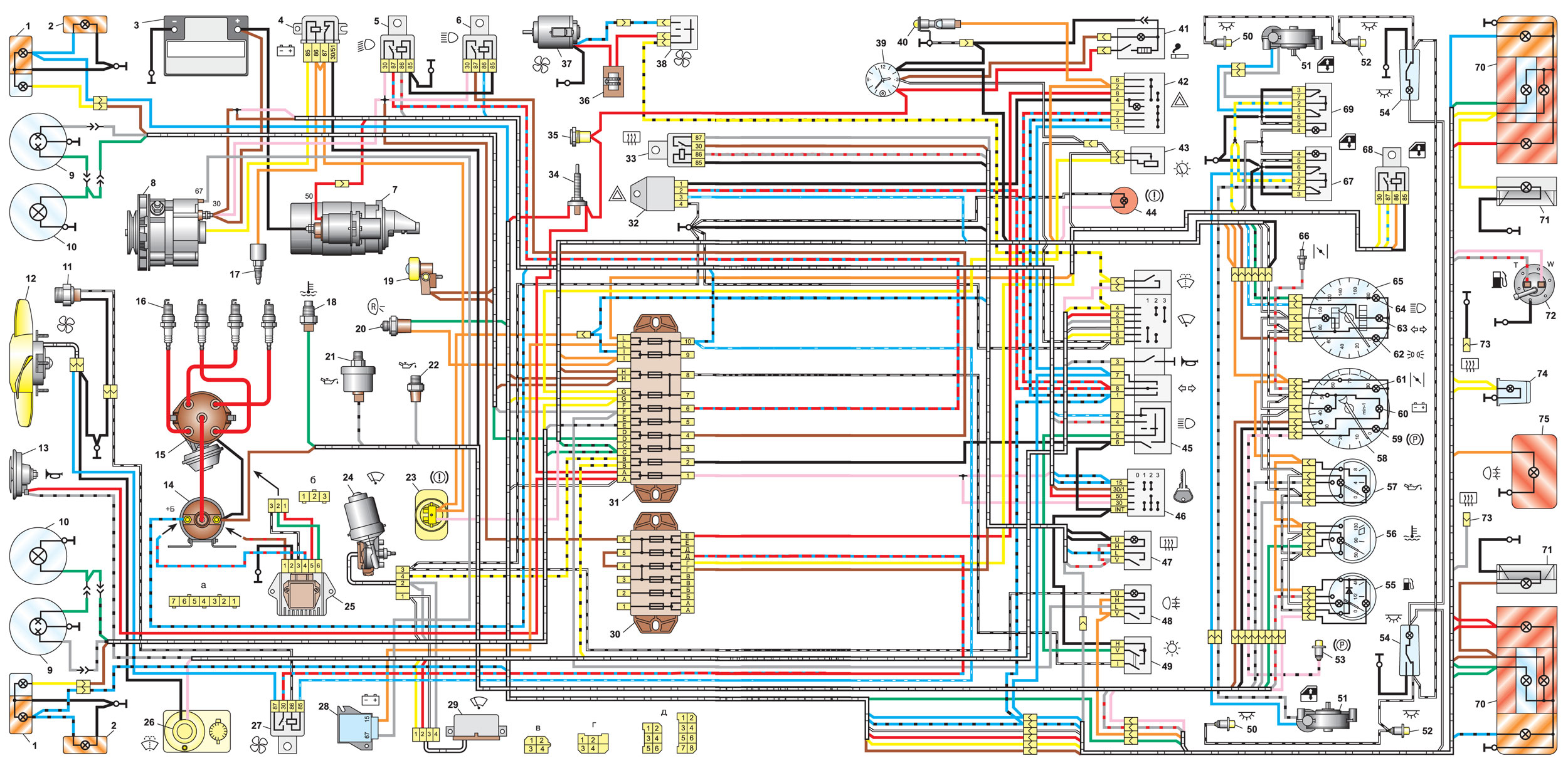 Электрическая схема ВАЗ 2106 выпуска 1988-2001 годов