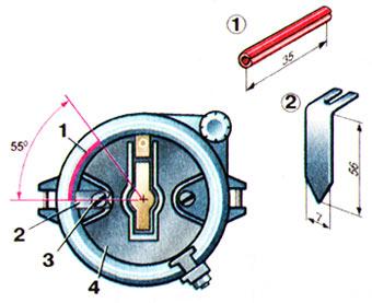 Установка шланга 1 и стрелки 2 под винт 3 на роторе 4 распределителя зажигания