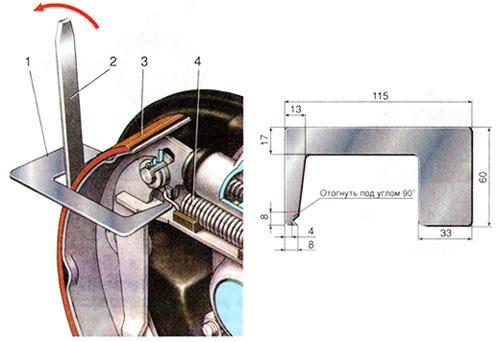 Снятие и установка стяжной пружины тормозных колодок