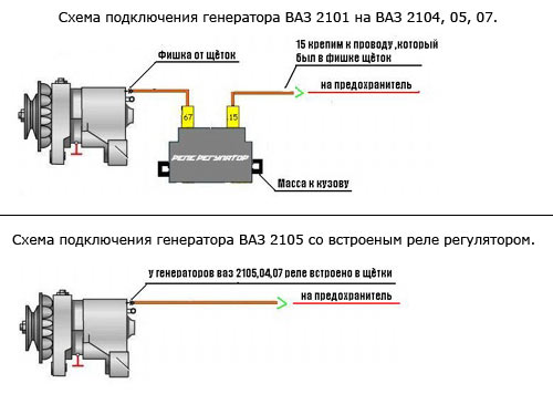 sxema podklyucheniya rele regulyatora napryazheniya - Схема подключения регулятора напряжения ваз 2106