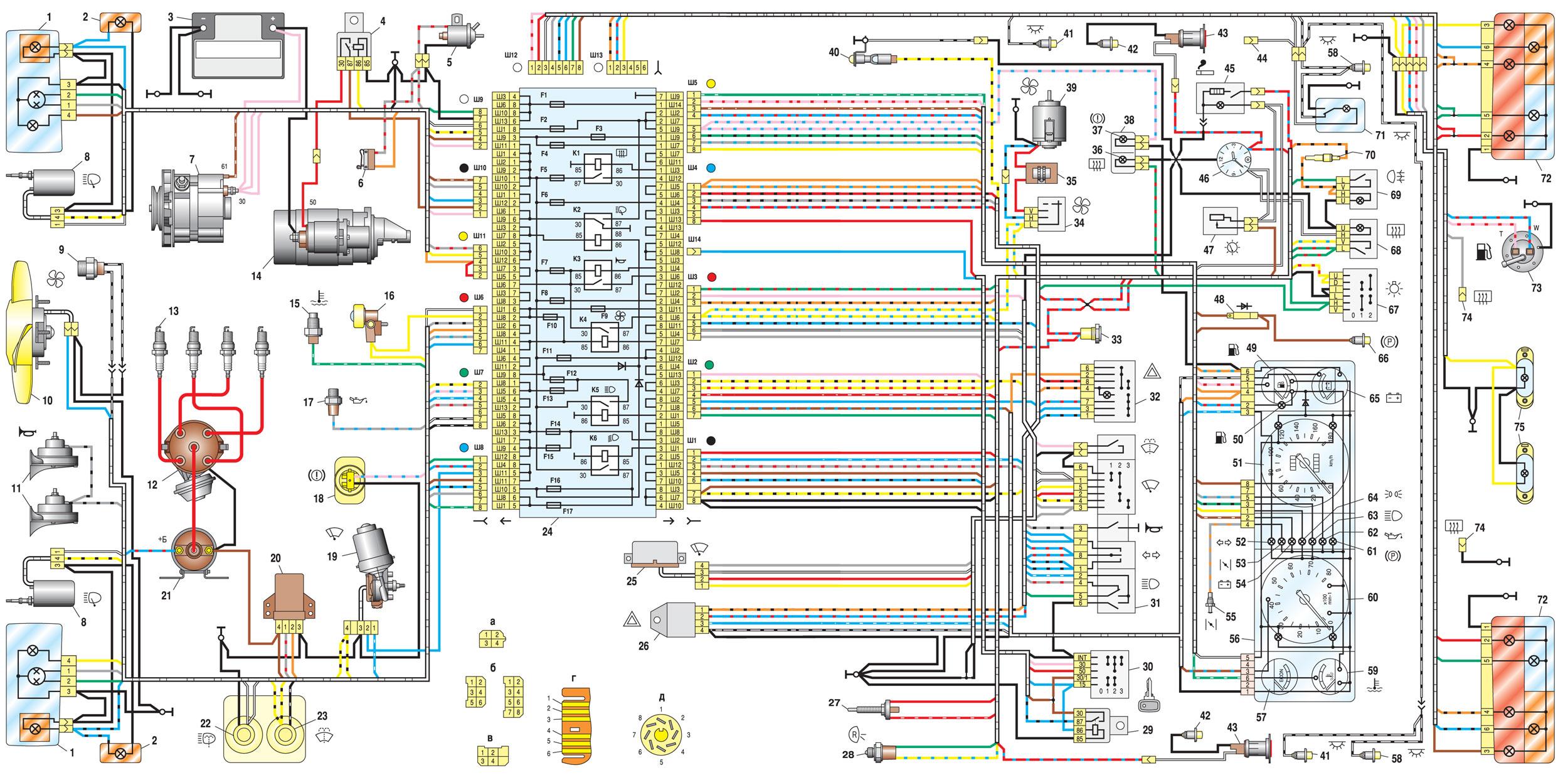 Электрическая схема ВАЗ 2107, 21074 выпуска 1988-2001 годов с генератором 37.3701